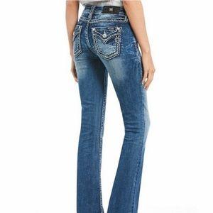 Miss Me flap pocket bling boot cut jeans EUC 26